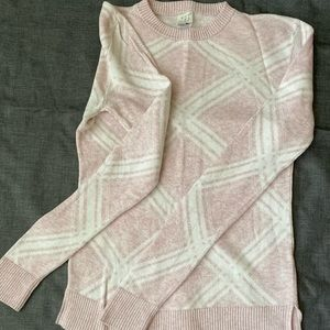A New Day Crewneck Pink and White Sweater